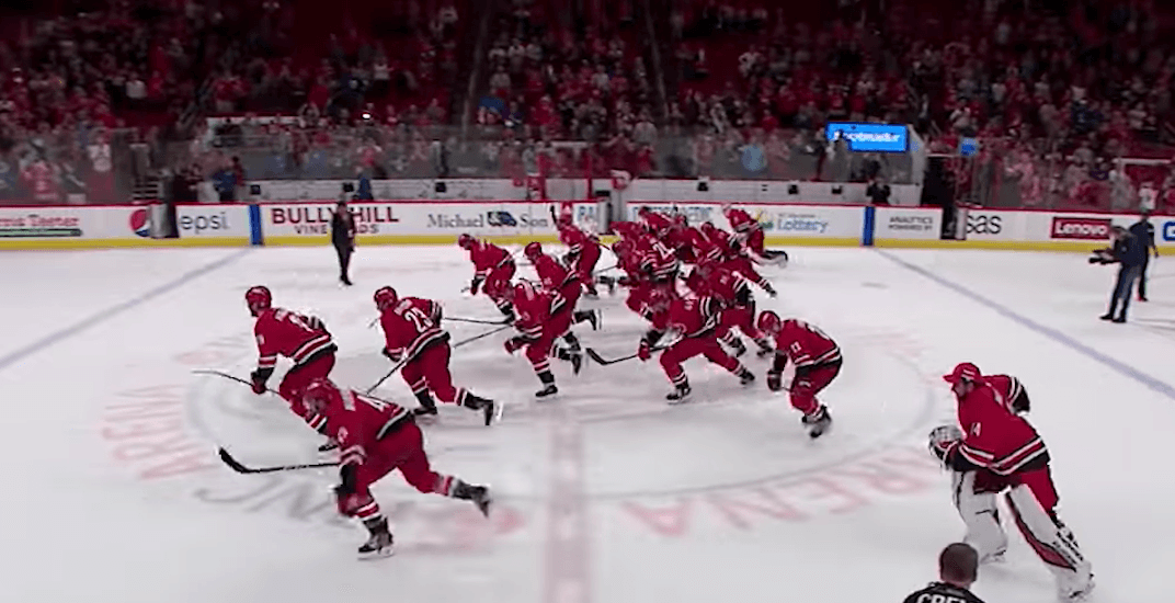 Hurricanes show off unique victory celebration after win over Canucks (VIDEO)