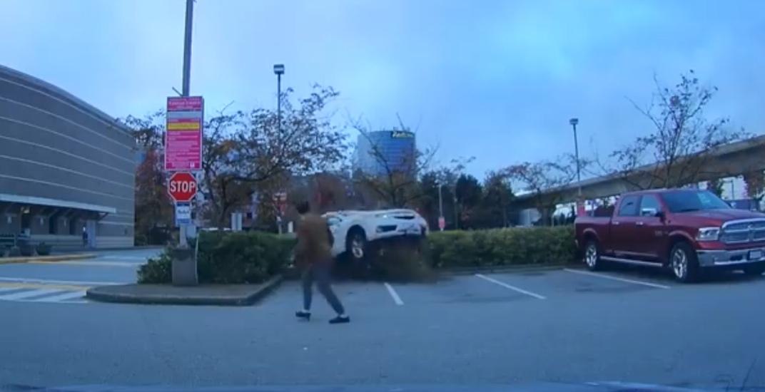 Airborne SUV narrowly avoids hitting pedestrian in Richmond parking lot (VIDEO)