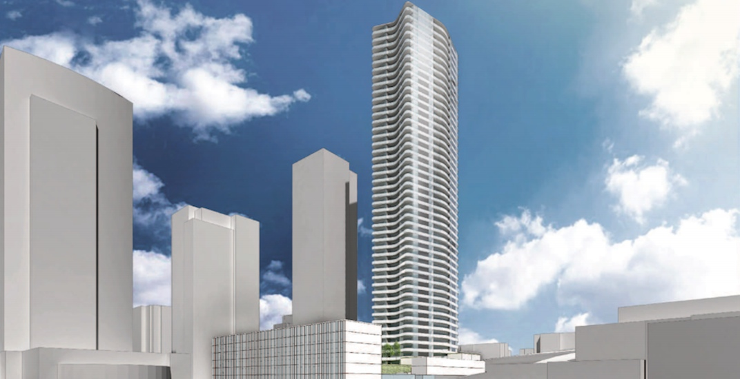 437-ft-tall condo and hotel tower proposed next to New Westminster Station