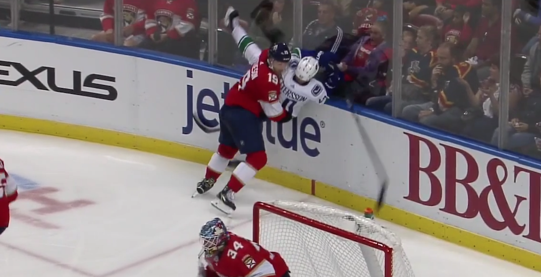 Canucks' Pettersson injured after being slammed to the ice