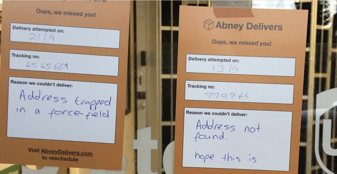 This Vancouver company sends hilarious missed delivery notes to shipping companies