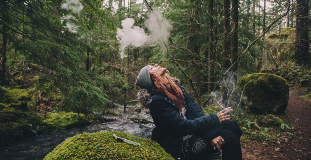 Smoking weed in the woods