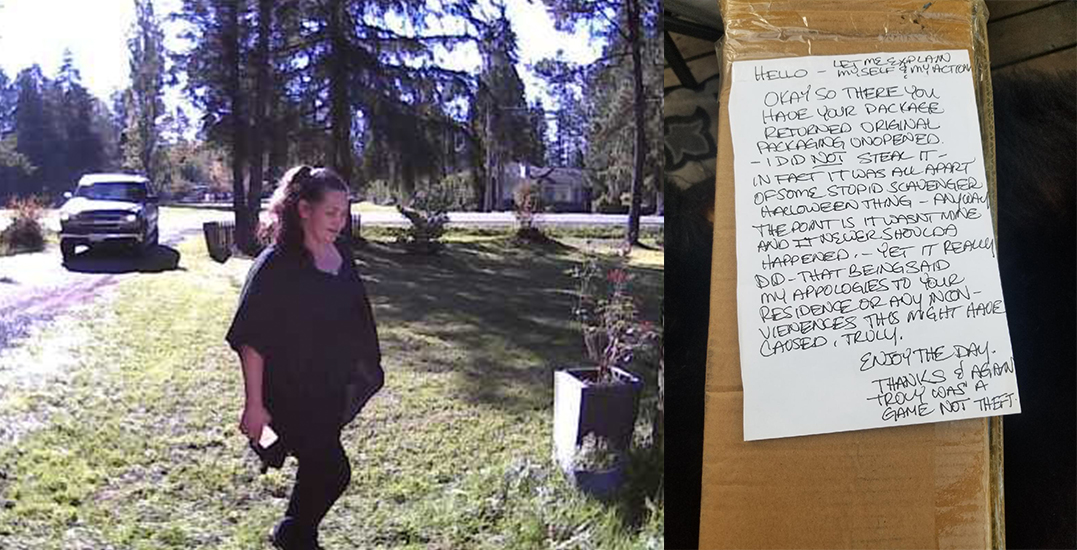 Stolen parcel returned with bizarre note after theft caught on camera
