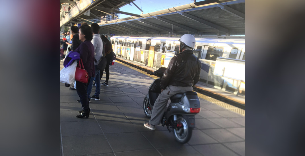 Please don't do this: Man spotted riding moped onto SkyTrain
