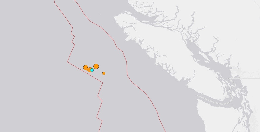 2 more earthquakes strike off BC Coast in early morning hours