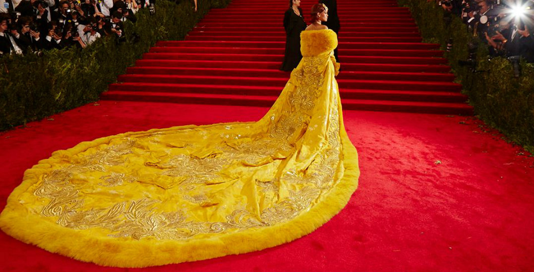 Rihanna's 24-karat-gold-spun couture cape is at the Vancouver Art Gallery RN