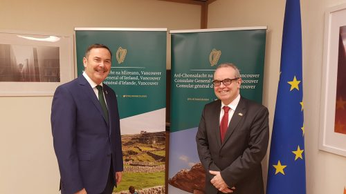 Irish Ambassador to Canada, Jim Kelly (right) and Consul General, Frank Flood at the opening of the new Irish Consulate in Vancouver.