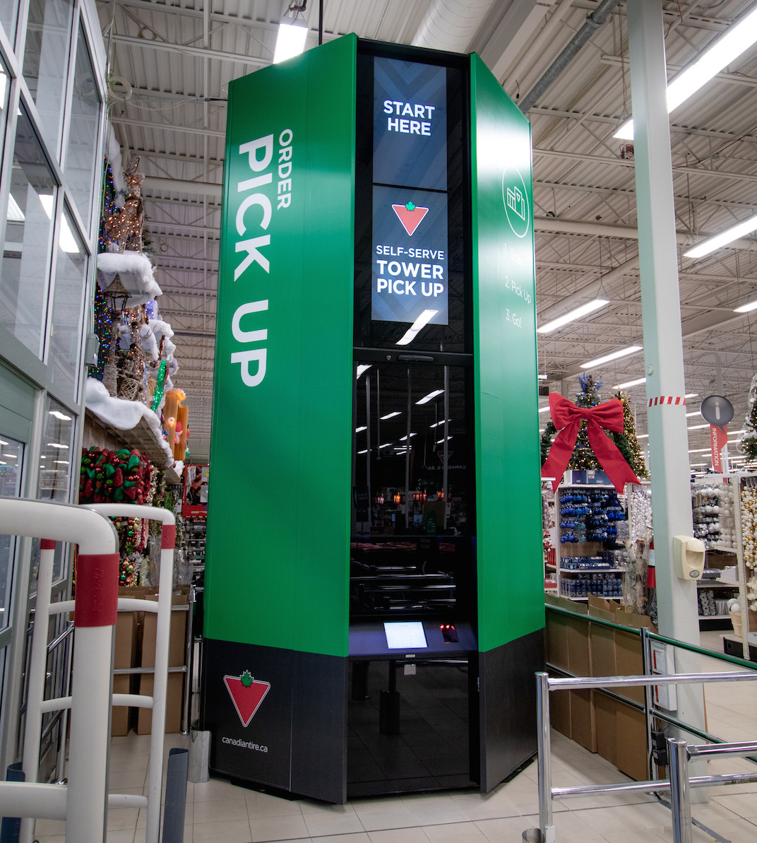 Canadian Tire e-commerce self-serve pickup tower