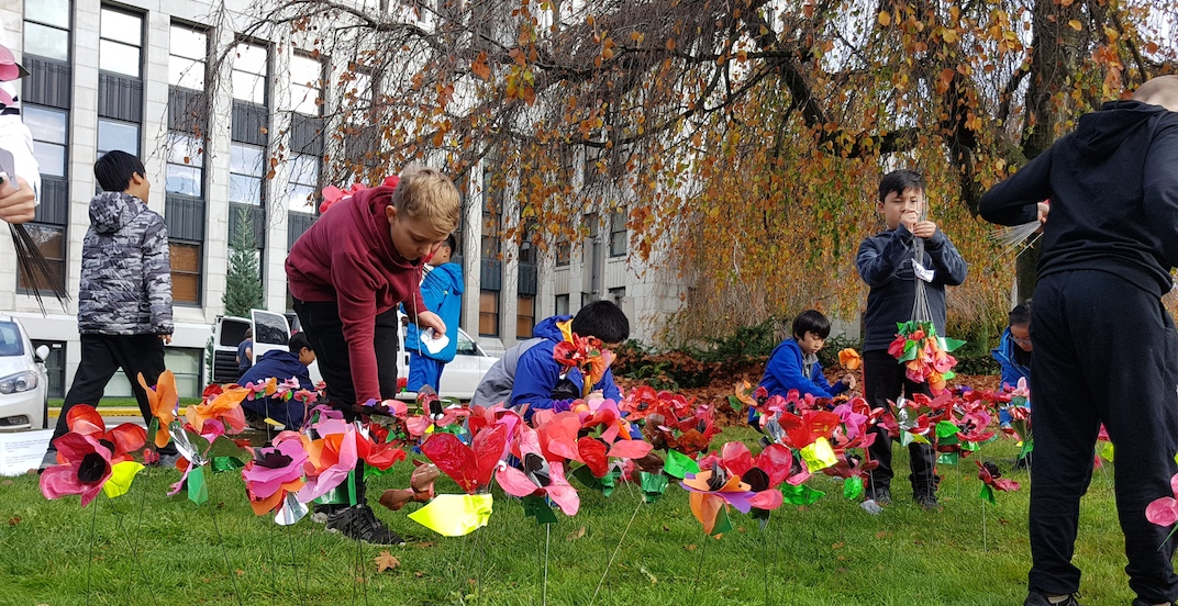 Over 3,000 poppies installed by students at Vancouver City Hall