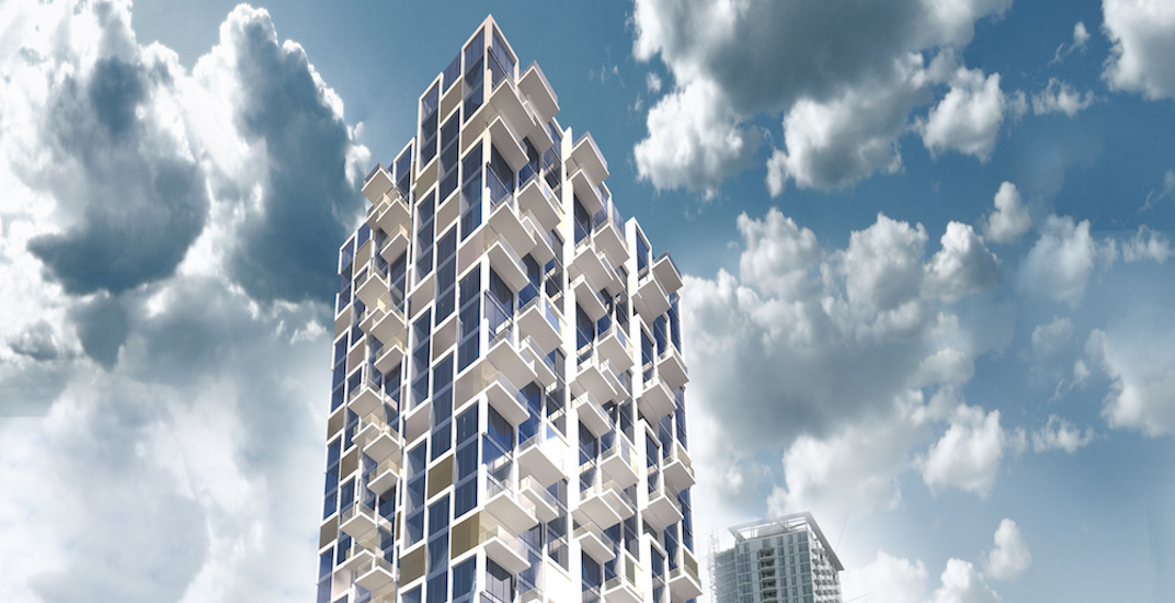 New condo tower with stacked cube appearance proposed for Surrey