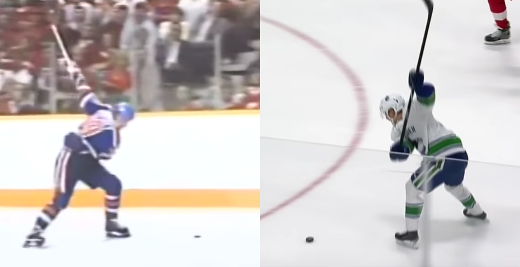 Canucks rookie Elias Pettersson recreates famous Gretzky goal (VIDEO)