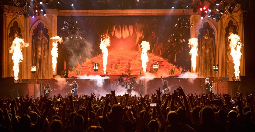 Iron Maiden playing concert at the Saddledome on August 31