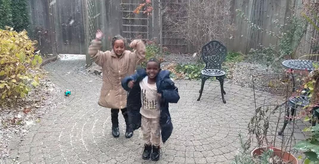 Refugee children first snowfall