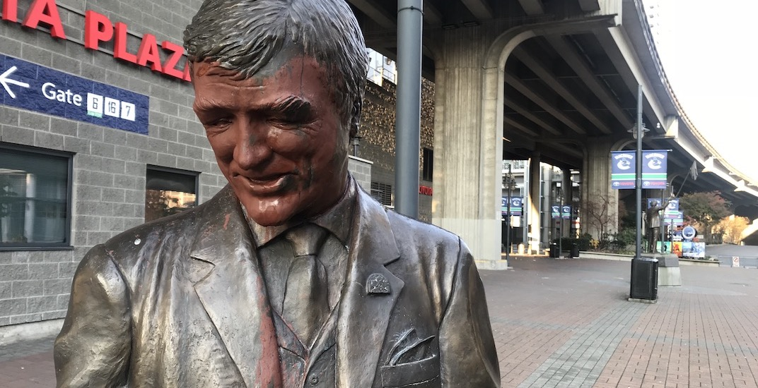 Some dumbass vandalized the Pat Quinn statue outside Rogers Arena