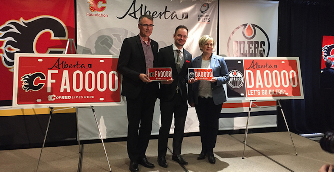 Alberta hockey fans can now sport Flames, Oilers licence plates