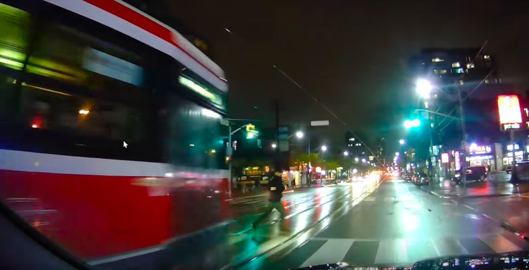 Dashcam footage captures the danger of jaywalking in front of a streetcar (VIDEO)