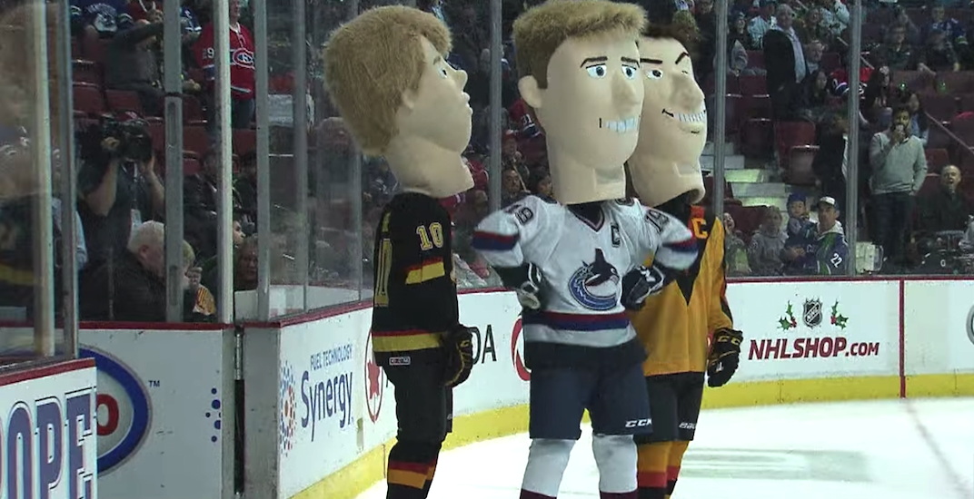 Canucks are hiring 'big head mascots' to skate around the ice at games