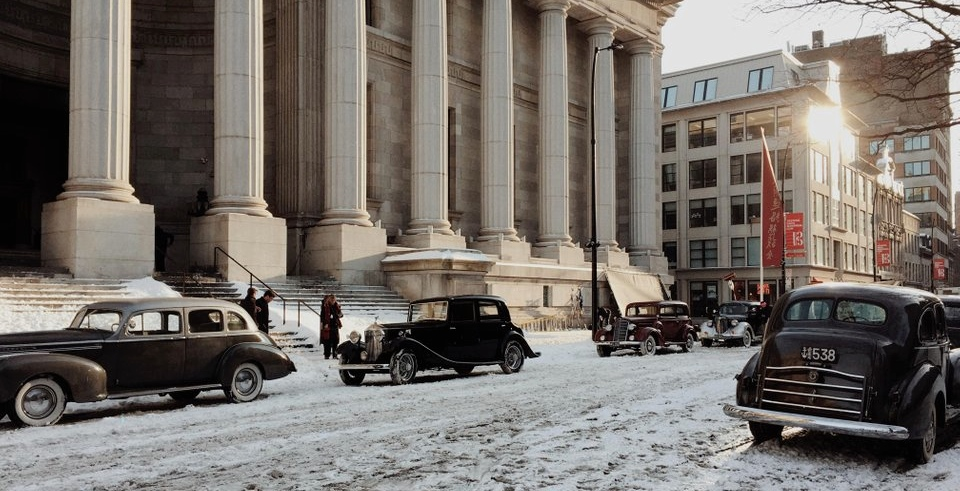 Old Montreal has been transformed into a 1940s movie set