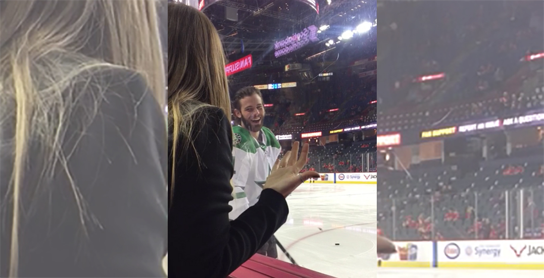 Seguin knocks over Flames fan's beer on purpose during warmup (VIDEO)