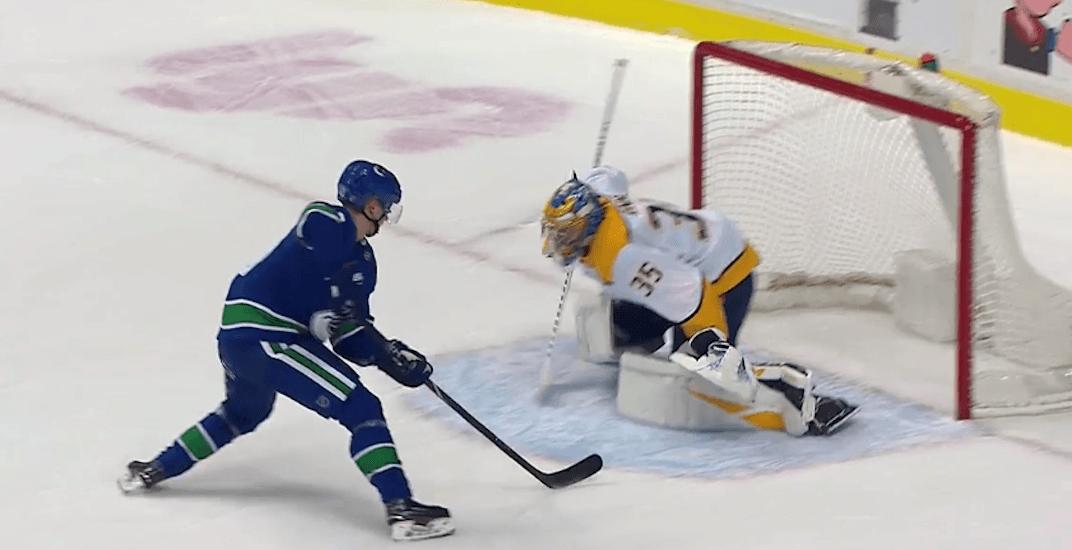 Elias Pettersson pretzels goalie on penalty shot goal (VIDEO)