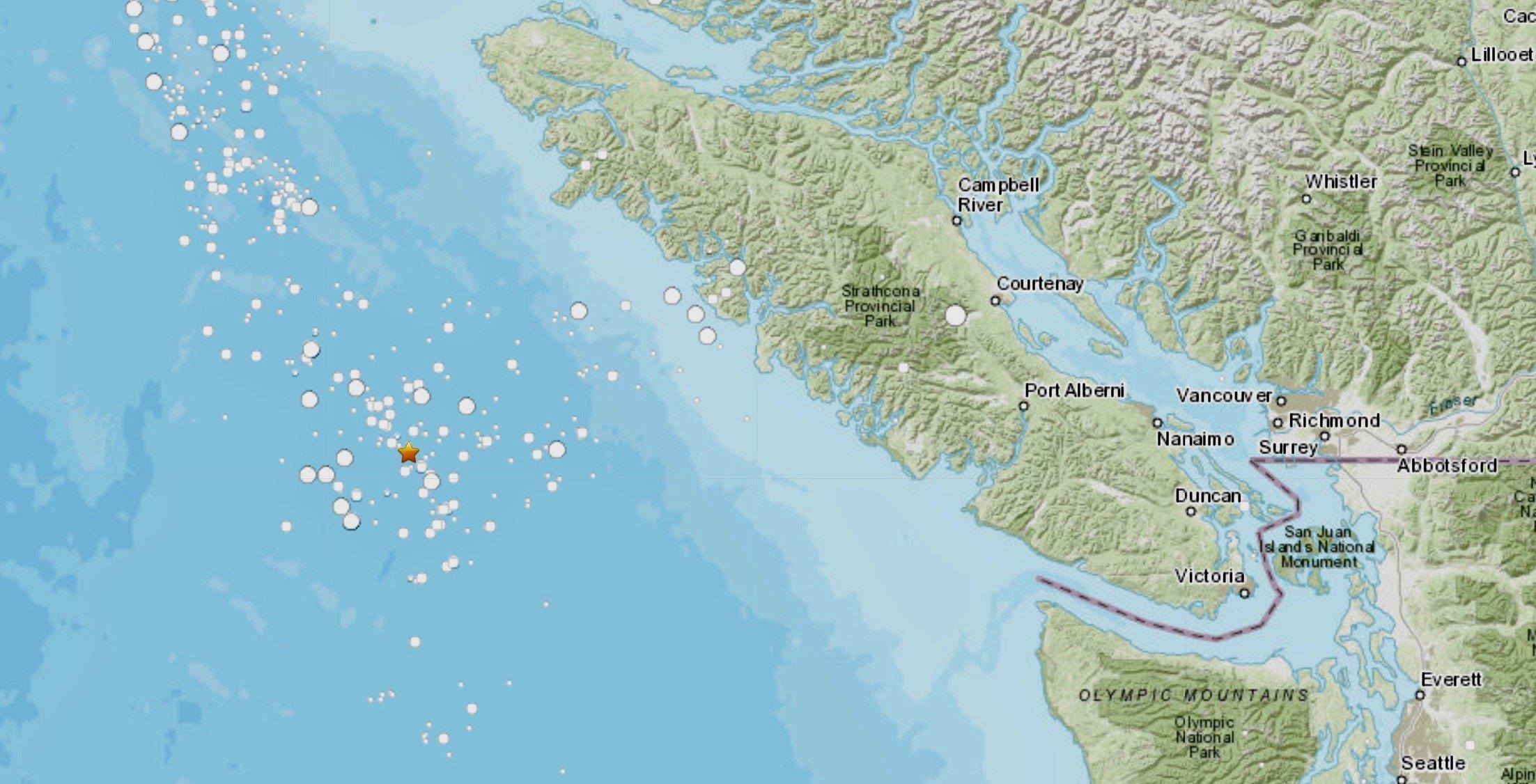 Magnitude 5.4 earthquake strikes off coast of Vancouver Island