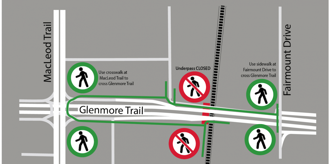 'Drug use, social disorder' closes Glenmore Trail pedestrian underpass