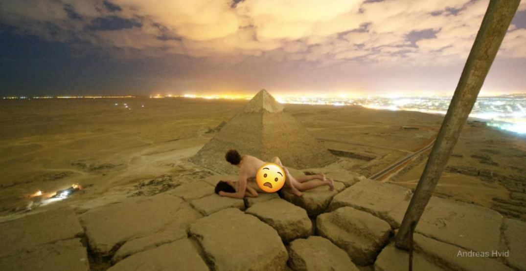 This couple engaged in 'adult cuddle' atop the Great Pyramid of Giza in Egypt