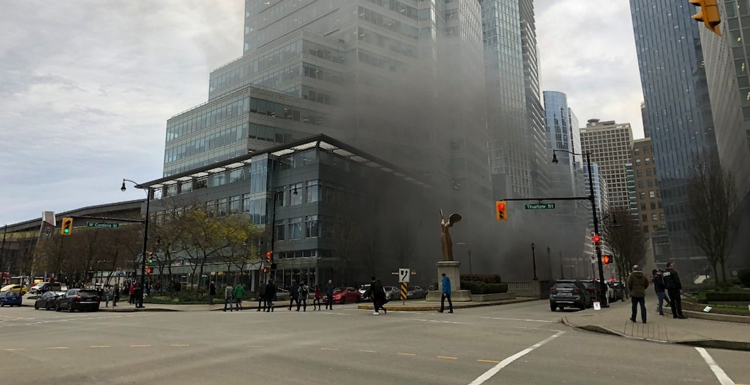 UPDATED: Expo Line stations in downtown Vancouver shut down due to smoke from nearby fire