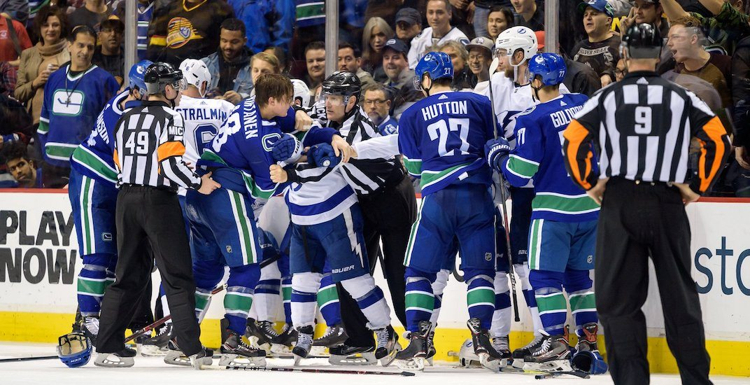 Fights fill Canucks-Lightning game after Stecher injured on dirty hit
