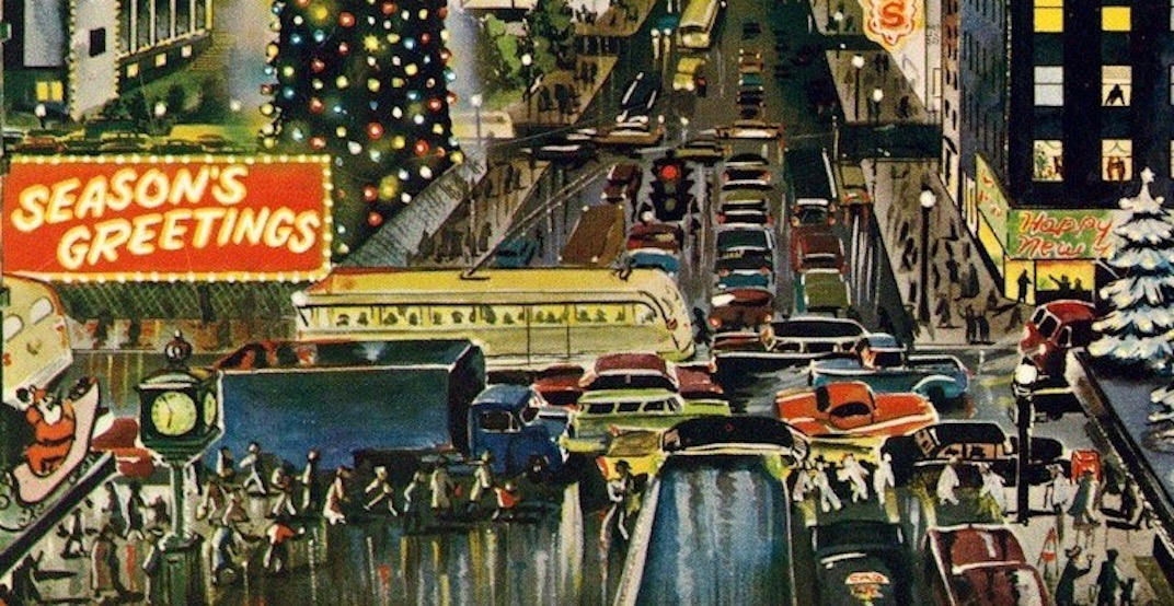 Retro Christmas card depicts magical 1950s Downtown Vancouver