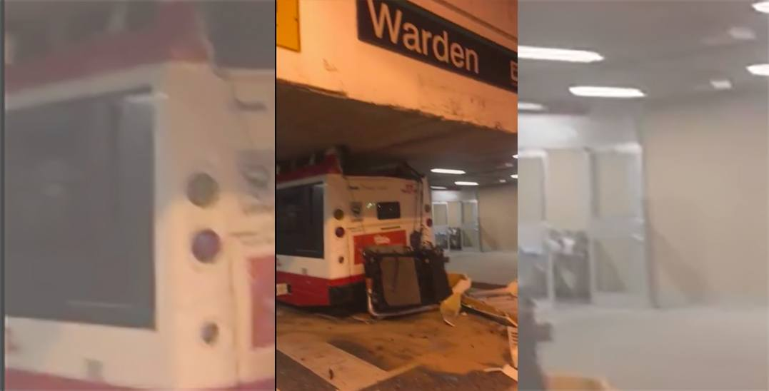 TTC bus gets stuck after driving through tunnel at Warden Station (VIDEO)