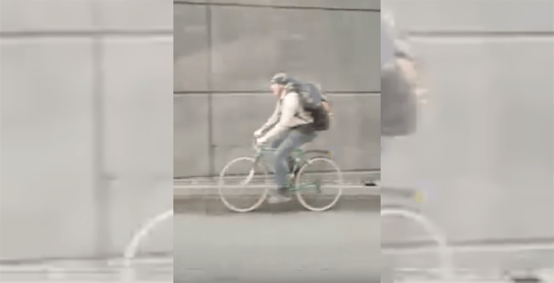 Cyclist spotted dangerously travelling through George Massey Tunnel (VIDEO)