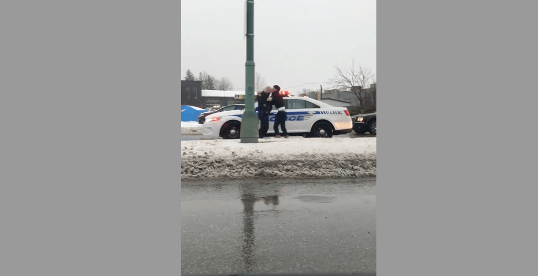 Laval police officer questioned after head-butting suspect (VIDEO)