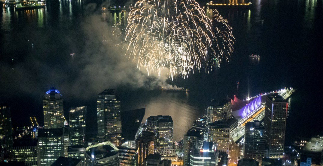Aerial pics capture unique view of Vancouver's New Year's Eve fireworks (PHOTOS)