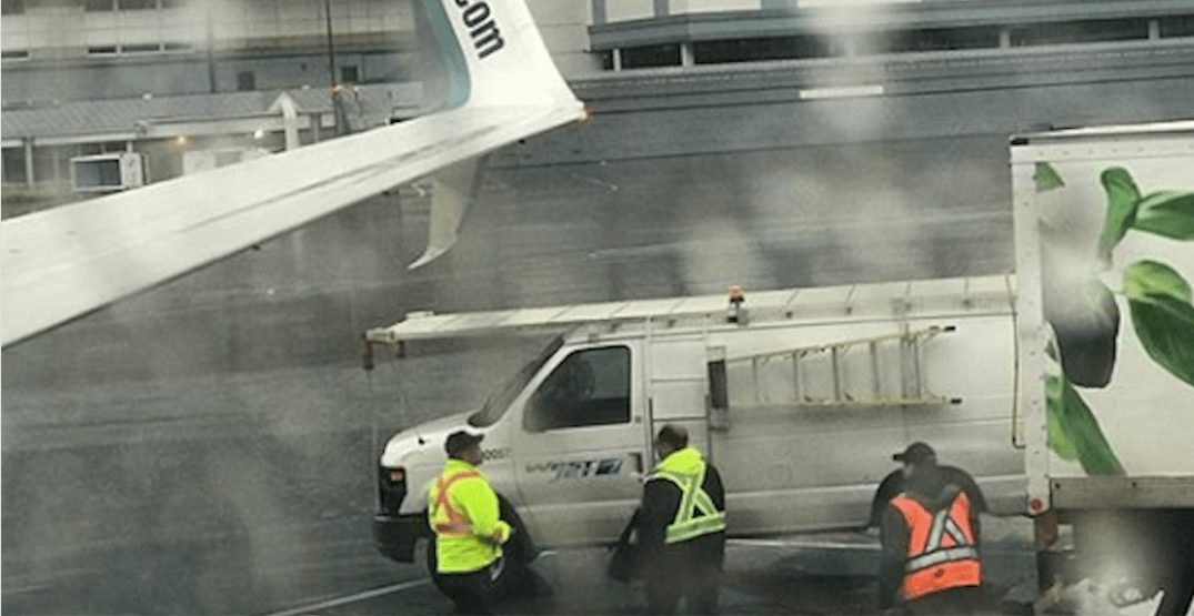 Westjet flight grounded after plane hits catering vehicle on YVR tarmac