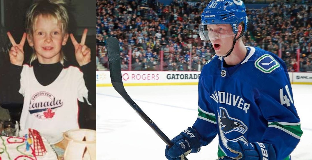 Pettersson says he always dreamed of playing for Canucks and has the picture to prove it