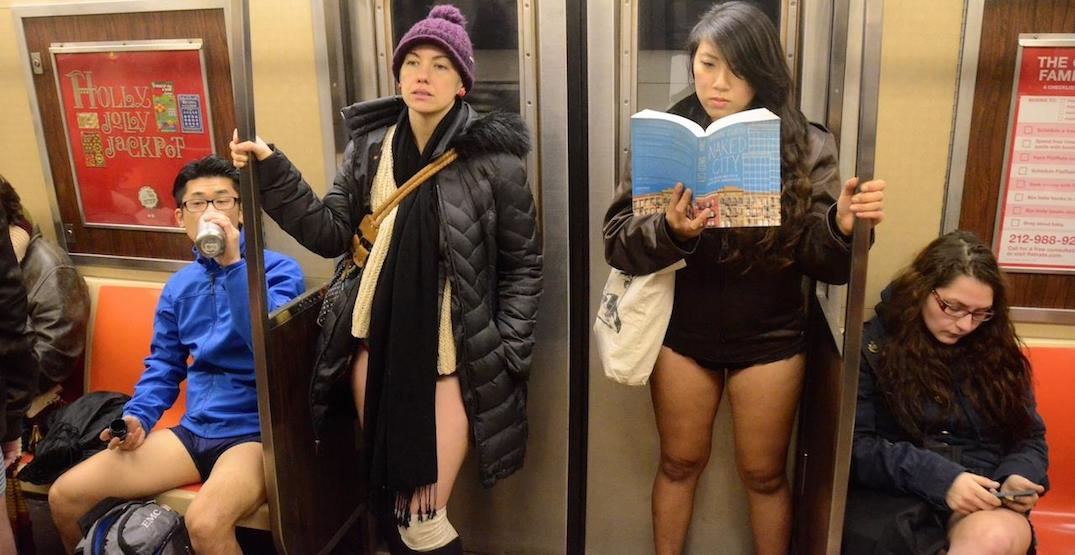 Bare it all at Calgary's 2019 No Pants C-Train ride on January 13