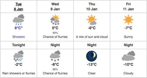 mild temperatures