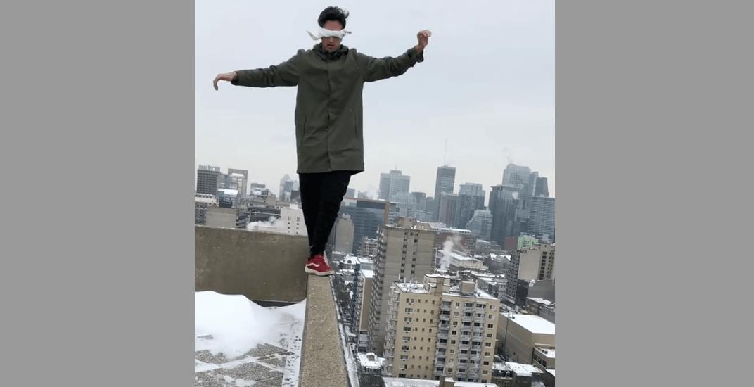 Montreal bird box challenge parkour