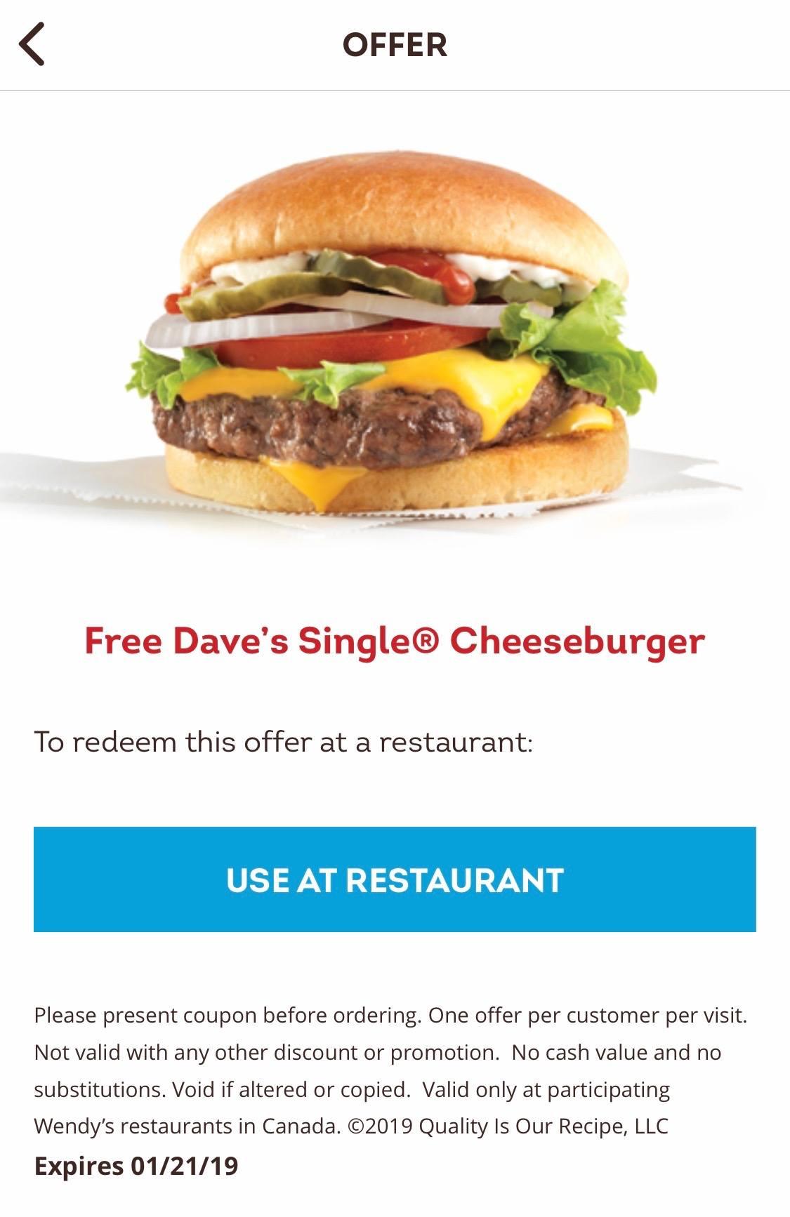 Wendy's Free Burger