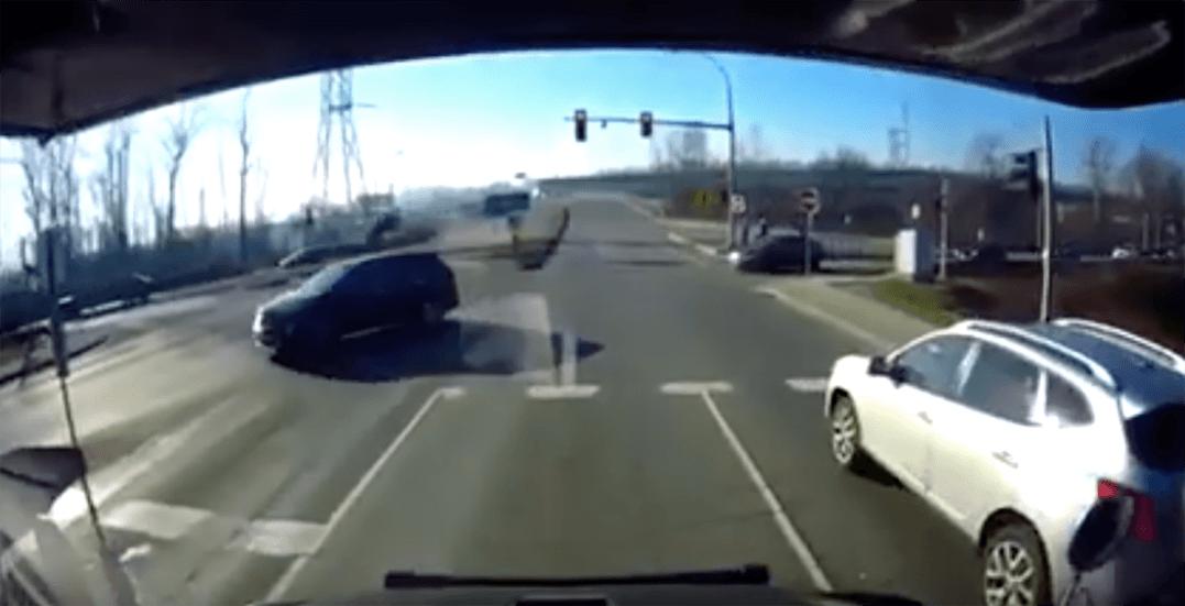 Shocking video shows car flying off Brunette Hwy off-ramp before crashing (VIDEO)