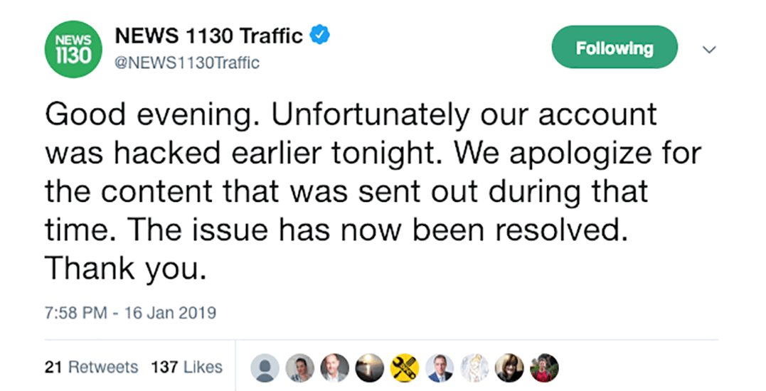 News1130 Traffic apologizes after Twitter hackers share offensive tweets