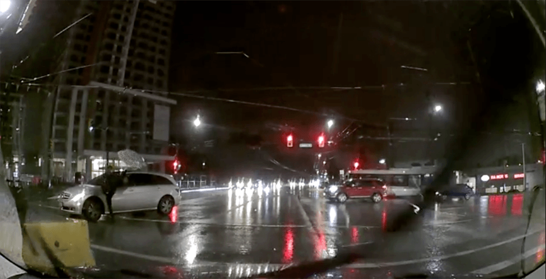 Pedestrian kicks mirror off car after nearly being hit by Vancouver driver (VIDEO)