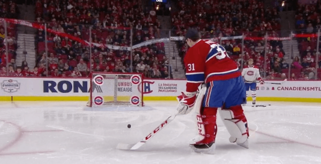 Carey Price beats a bunch of his Canadiens teammates in accuracy shooting competition (VIDEO)