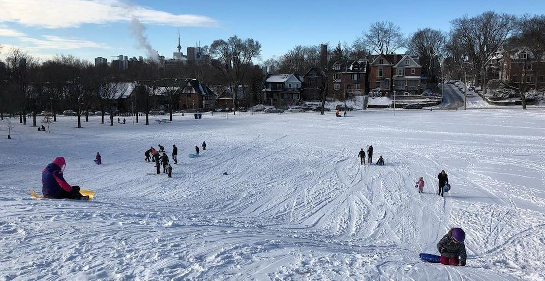 You can go tobogganing down these hills in Toronto