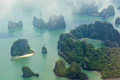 Views from the seaplane over Halong Bay