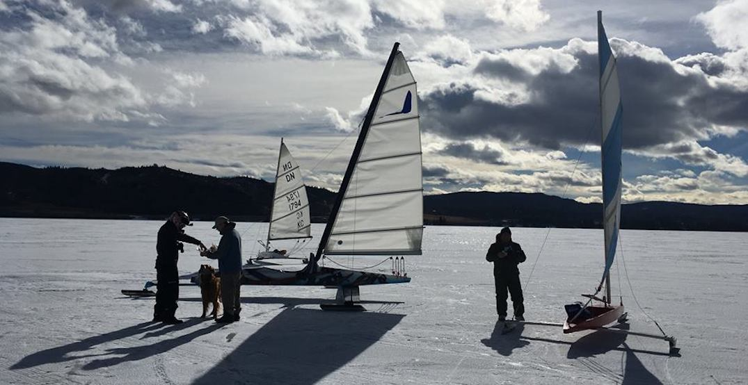 People are sailing across this icy lake in Alberta (VIDEOS)