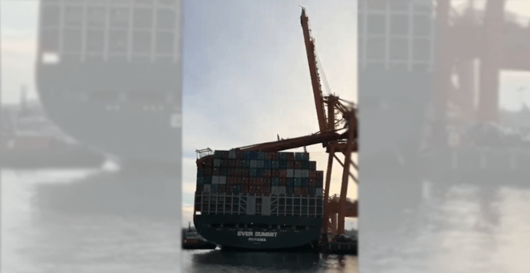 Massive crane crashes onto container ship at Vancouver port