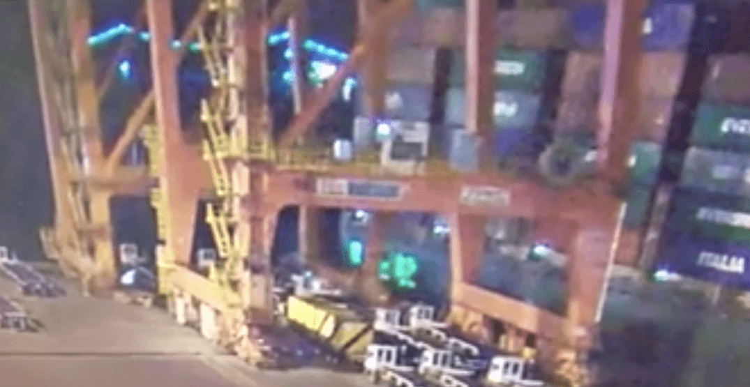 Video captures exact moment giant crane collapses at Vancouver port
