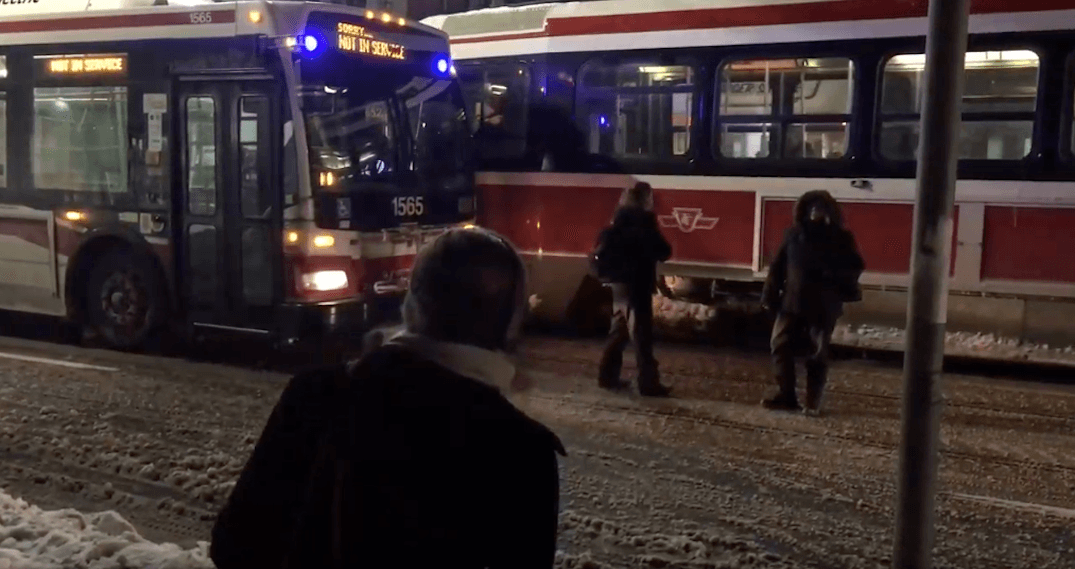 Two women block TTC path after anger over short-turns (VIDEO)
